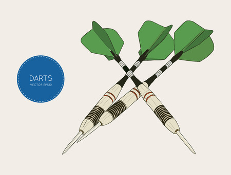 Green arrow darts Vector Illustration