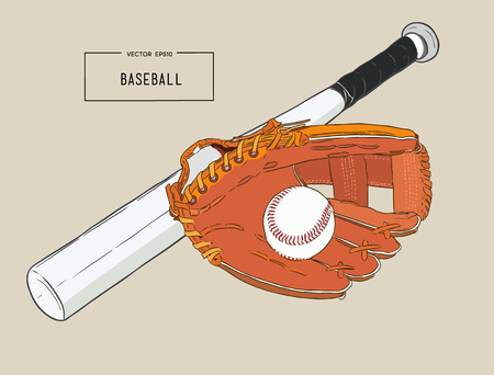A collection of illustrated baseball elements. Batts, balls, mitts or gloves, sketch vector.
