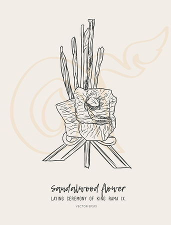 sandalwood flower-laying ceremony  for mourn to king of thailand pass away . hand draw sketch vector. Illustration