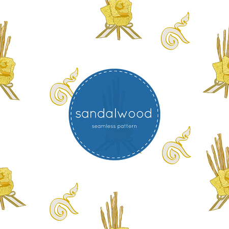 sandalwood flower-laying ceremony  for mourn to king of thailand pass away . hand draw sketch  sandalwood flower for king ,seamless pattern vector. Иллюстрация