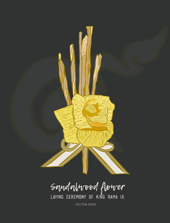 sandalwood flower-laying ceremony  for mourn to king of thailand pass away . hand draw sketch vector. Иллюстрация