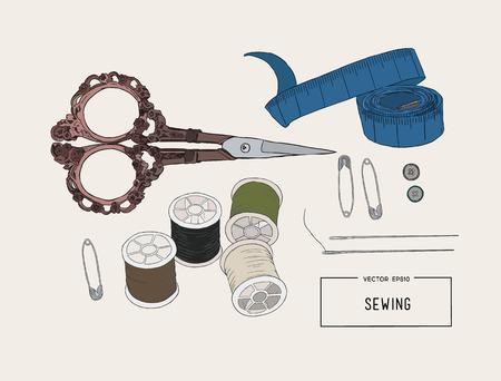 kit de costura: Color conjunto de objetos para la costura, la artesanía. Herramientas de costura y kit de costura, equipo de costura, aguja, alfiler de coser, hilo. Conjunto de vector de costura.