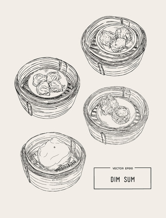 Dim sum in bamboo basket colorful vector illustration of Chinese cuisine