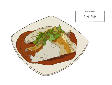 Steamed rice noodle roll. Vector illustration of Chinese cuisine Illustration