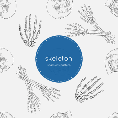 heavy metal: Vector seamless pattern of human skeleton Illustration