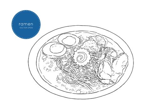 Ramen soup Vector Hand drawn illustration. Vektorové ilustrace