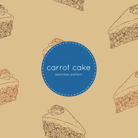 Sliced carrot cake with walnuts, prunes and dried apricots hand draw sketch seamless pattern vector.
