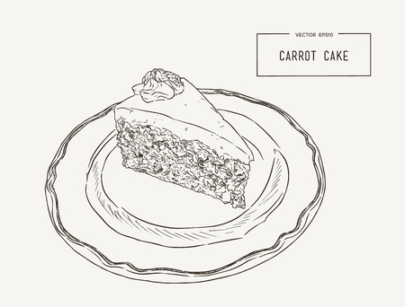 Sliced carrot cake with walnuts, prunes and dried apricots on a plate hand draw sketch vector.