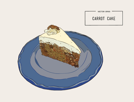 Sliced carrot cake with walnuts, prunes and dried apricots on a blue palte hand draw sketch vector.