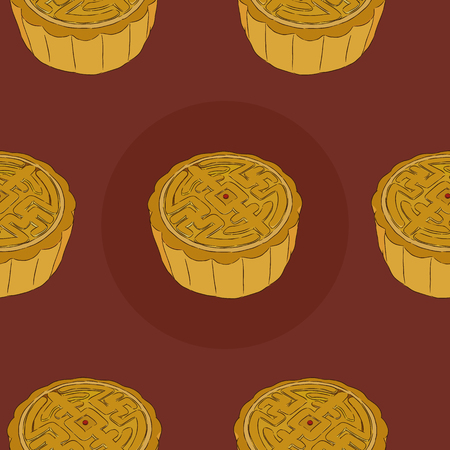 most popular: Chinese Cuisine, Moon Cake or Chinese Round Pastry Filled with Red Bean or Lotus Seed Paste for Chinese Mid-Autumn Festival. One of Most Popular Dessert in China in a seamless pattern background vector illustration.