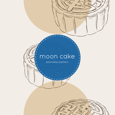 most popular: Chinese Cuisine, Moon Cake or Chinese Round Pastry Filled with Red Bean or Lotus Seed Paste for Chinese Mid-Autumn Festival. One of Most Popular Dessert in China.seamless pattern vector. Illustration