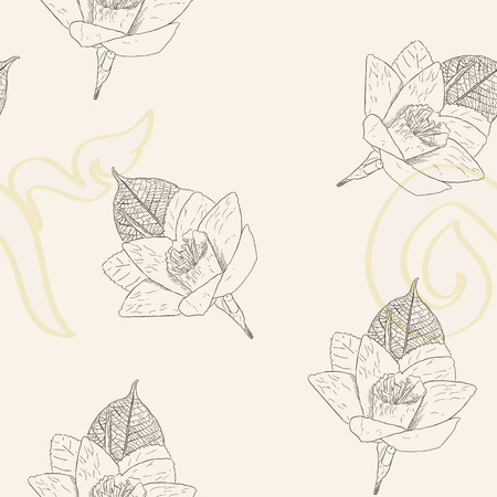 Thai Artificial Funeral Daffodil Flower or Dok mai chan, hand draw sketch vector illustration of  sandalwood flower-laying ceremony for mourn to king of thailand pass away, designed in a seamless pattern vector. Иллюстрация