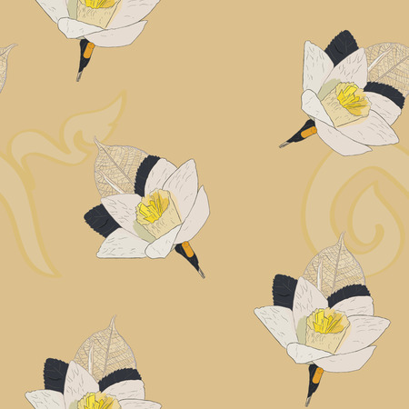 Thai Artificial Funeral Daffodil Flower or Dok mai chan, hand draw sketch vector illustration of  sandalwood flower-laying ceremony for mourn to king of thailand pass away. Designe in a seamless pattern vector. Иллюстрация