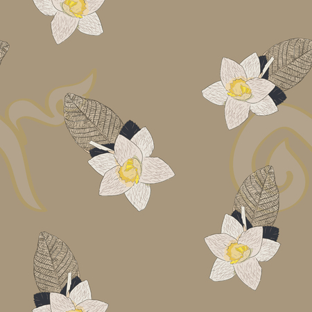 Thai Artificial Funeral Daffodil Flower or Dok mai chan, hand draw sketch vector. Sandalwood flower-laying ceremony  for mourn to king of thailand pass away. Иллюстрация