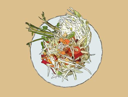 widok z góry sałatka z papai lub som-tum, tajskie jedzenie. ręcznie rysowane szkic wektor. Ilustracje wektorowe