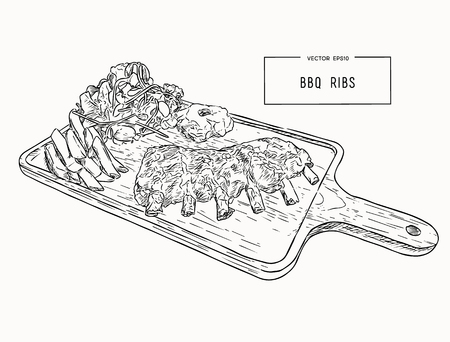 illustration of grilled spare ribs with smashed potato , french fries and fresh salad serve on wooden board. hand draw sketch