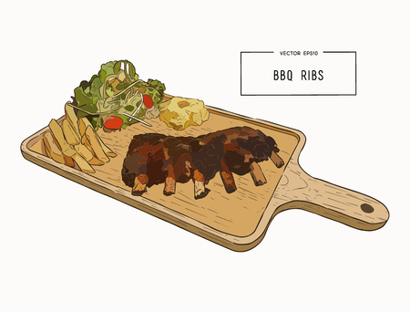 illustration of grilled spare ribs with smashed potato , french fies and fresh salad serve on wooden board. hand draw sketch vector.
