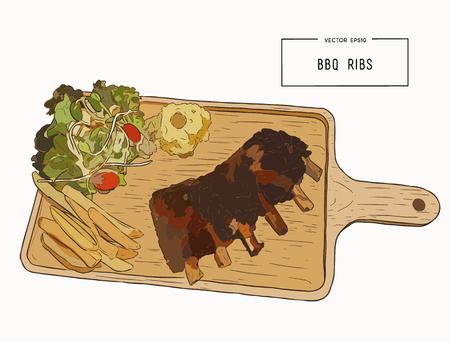 illustratie van gegrilde reserve ribben met gebakken aardappel, franse fies en verse salade serveren op houten bord. hand tekening schets vector.