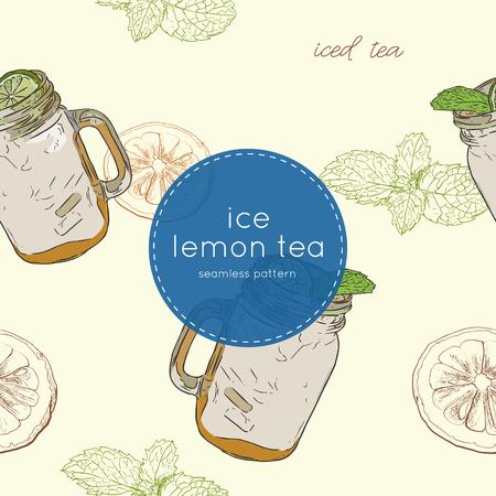 sugar cube: set of iced lemon mint tea , sketch vector. Illustration
