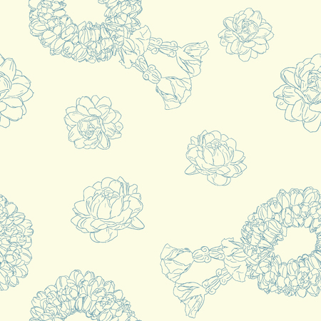 jasmine flower and garland use in traditional mothers day , hand draw sketch seamless pattern vector.