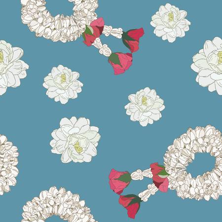 Jasminblüte und Girlandengebrauch am traditionellen Muttertag, nahtloser Mustervektor der Handabgehobenheitskizze.