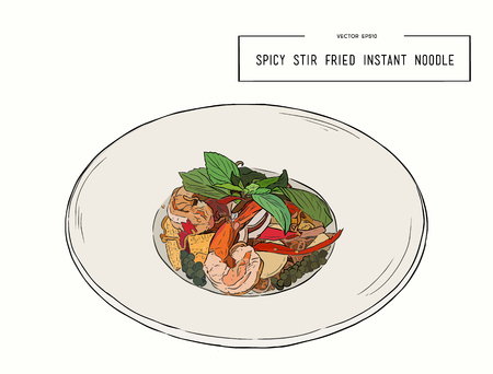 Spicy stir fried instant noodle and holy basil leaves combined with seafood. pad kee mao, sketch vector. 向量圖像