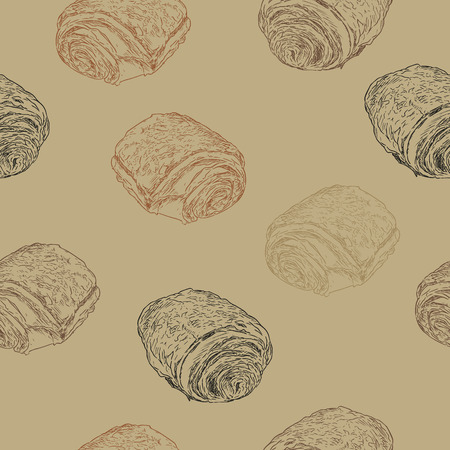 Chocolate croissants (pain au chocolat) , traditional french pastry. hand draw sketch seamless pattern vector.