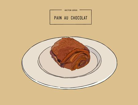Croissants au chocolat (pain au chocolat), pâtisserie traditionnelle française. main dessiner le vecteur de croquis. Banque d'images - 86685340