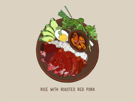red pork , boiled egg and Rice ,rice with roasted pork,thai food with Popular food Thai people have delicious sweet taste.hand draw vector.