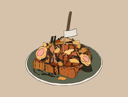 condensed: toasted bread with overload topping, biscuite , cacao powder , chocolate sauce and cornflake . hand draw sketch vector.