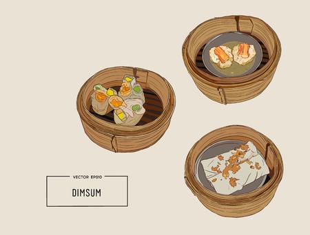 Ilustración colorida de Dimsum.