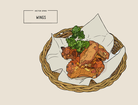 hand draw fried chicken wings in basket . Vector illustration