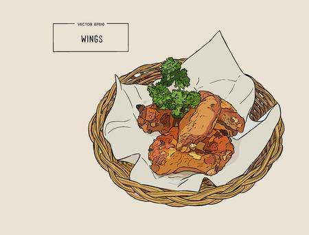 Mano disegnare le ali di pollo fritto nel carrello. Illustrazione vettoriale Archivio Fotografico - 88320041