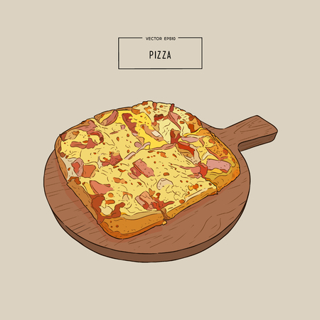 Pizza on the wooden board hand draw sketch design illustration.