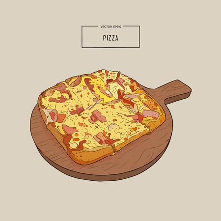 De pizza op de houten raadshand trekt de illustratie van het schetsontwerp.