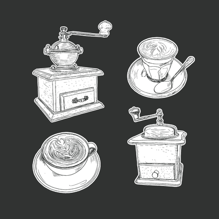 cappucino: coffee set isolated vector. hand draw sketch style