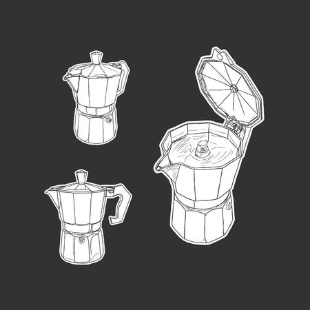 cappucino: moka pot set isolated vector. hand draw sketch coffee set.