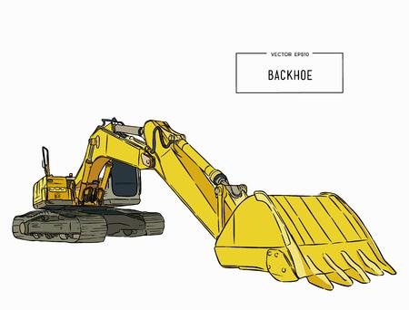 노란색 백 호 로더입니다. 건설 기계입니다. 특수 장비. 벡터 일러스트 레이 션. 손으로 그리는 스케치 벡터.