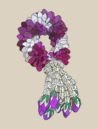 Tha tradition garland flower.hand draw sketch vector.