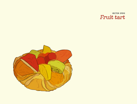 mix fruit tart pastry vector. hand draw sketch dessert.