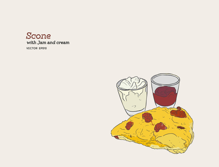 scone with cream and jam vector. hand draw sketch line art.