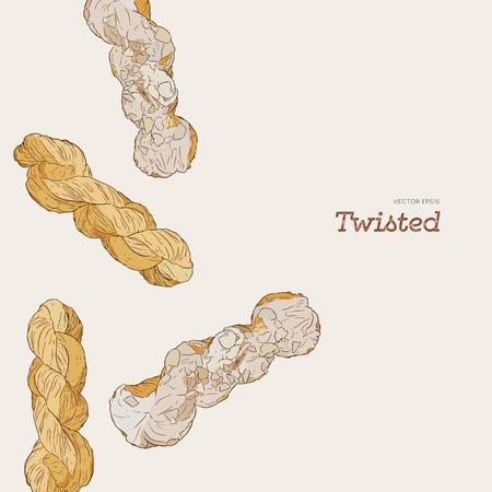 Twisted glazed donut, hand draw sketch vector.