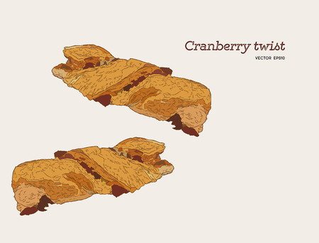 Cranberry twist , hand draw sketch vector. bakery set. food for Christmas.