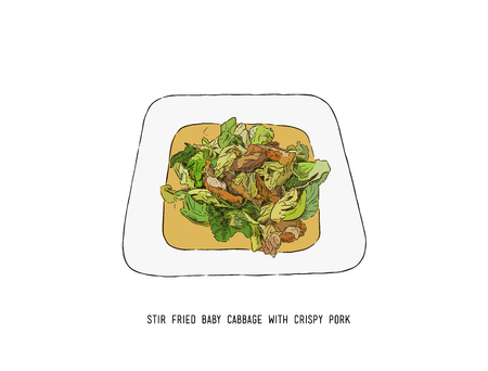 Stir Fried Baby Cabbage with Crispy Pork, thai food hand draw sketch vector. Illustration