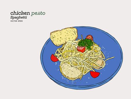 chicken pesto spaghetti , hand draw sketch vector.