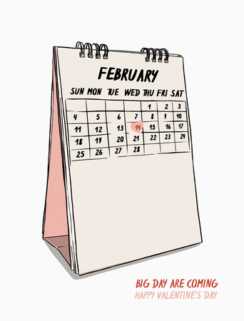 valentine's day concept, hand draw 14th February calendar vector.