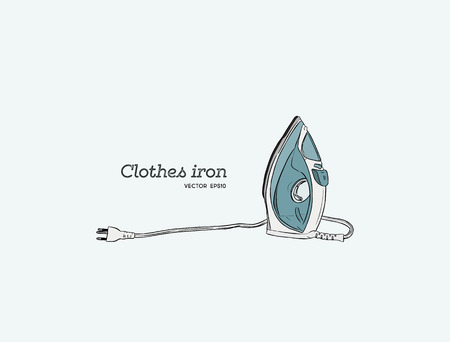 Steam irons for clotes, hand draw sketch vector.