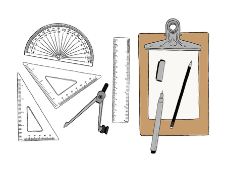 Set van stationaire, hand getrokken element schets vector. werkplek of schooluitrusting. Stock Illustratie