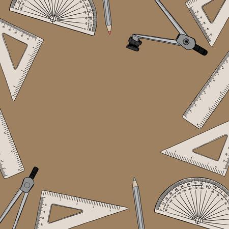 set of stationary , hand draw element sketch vector. work plac eor school equipment. Illustration