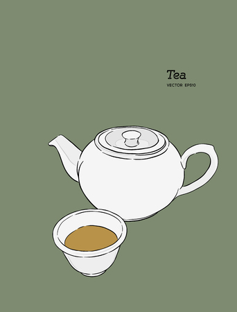 Set of hot chinese tea, kettle and glass. hand draw sketch vector.